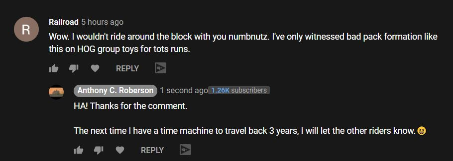 Comment on three year old video for ride to the museum.JPG